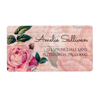 Vintage Pink Floral French Ephemera Return Address