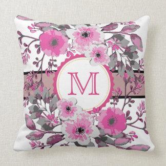 Vintage Pink Floral Modern Monogram Cushion
