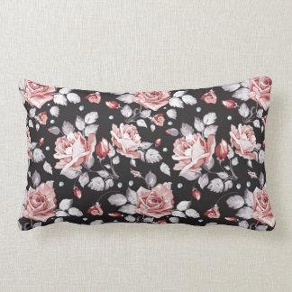 Vintage Pink Floral Pattern Lumbar Pillow