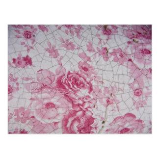 Vintage pink floral postcard