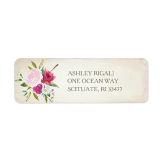 Vintage Pink Floral Return Address Label