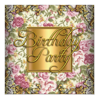 """Vintage Pink Floral Woman's Birthday Party 5.25"""" Square Invitation Card"""
