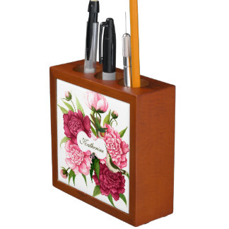 Vintage Pink Flower and Hummingbirds Custom Desk Organiser