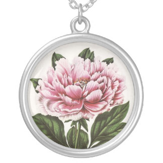 Vintage Pink Flower Art Round Pendant Necklace