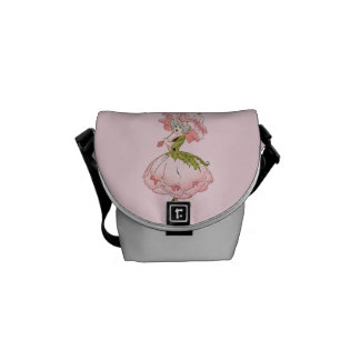 Vintage Pink Flower Fairy Graphic Courier Bags