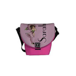 Vintage Pink Flower Fairy Graphic Customisable Courier Bags