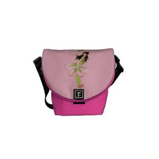 Vintage Pink Flower Fairy Graphic Messenger Bag