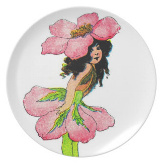 Vintage pink flower fairy plate
