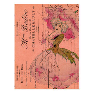 Vintage Pink Flower Fairy Postcard