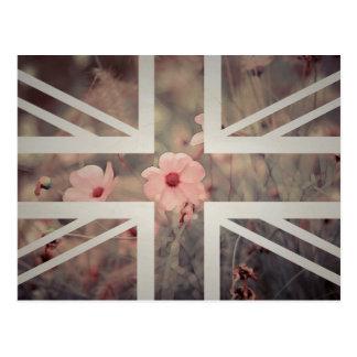 Vintage Pink Flower Union Jack British(UK) Flag Post Card