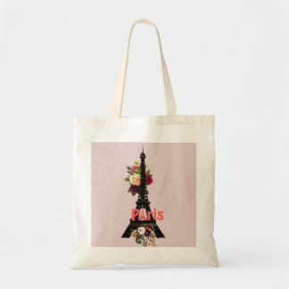 Vintage Pink Flowers French Paris Eiffel Tower Budget Tote Bag