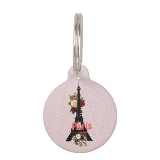 Vintage Pink Flowers French Paris Eiffel Tower Pet Tag