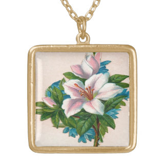 Vintage Pink Flowers, Grandmother Birthday Square Pendant Necklace