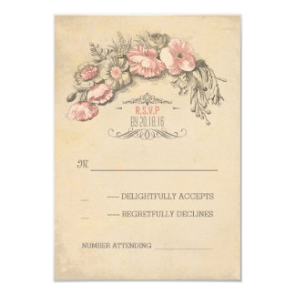 Vintage pink flowers wreath chic wedding RSVP Card