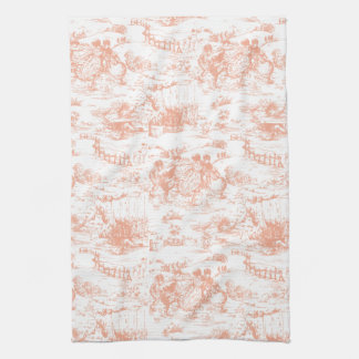 Vintage Pink French Toile Kitchen Towel