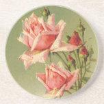 Vintage Pink Garden Roses for Valentine's Day Beverage Coasters