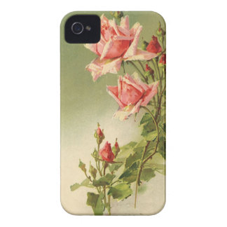 Vintage Pink Garden Roses for Valentine's Day iPhone 4 Cases