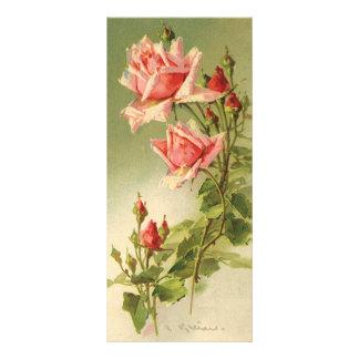 Vintage Pink Garden Roses for Valentine's Day Rack Card