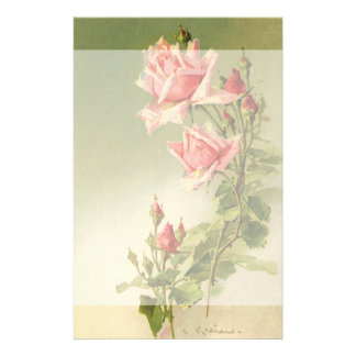 Vintage Pink Garden Roses for Valentine's Day Customized Stationery