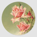 Vintage Pink Garden Roses for Valentine's Day Classic Round Sticker