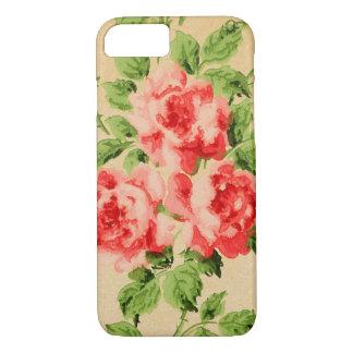 Vintage Pink Garden Roses on Golden Background iPhone 8/7 Case