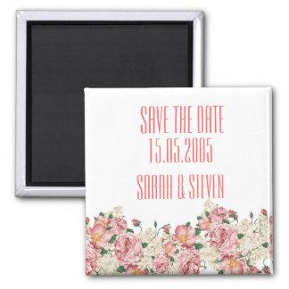 Vintage Pink Garden Roses Save the date Fridge Magnets