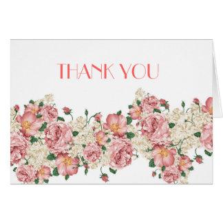 Vintage Pink Garden Roses Thank you Cards