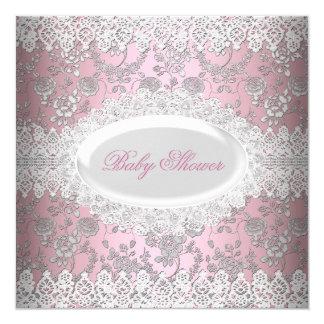 Vintage Pink Girl Baby Shower Lace Damask 13 Cm X 13 Cm Square Invitation Card