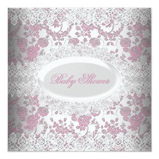 "Vintage Pink Girl Baby Shower Lace Damask 5.25"" Square Invitation Card"