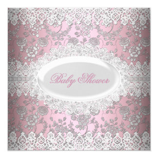 Vintage Pink Girl Baby Shower Lace Damask 5.25x5.25 Square Paper Invitation Card