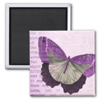 Vintage pink girly butterfly illustration square magnet