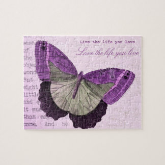 Vintage pink girly butterfly inspirational quote jigsaw puzzle