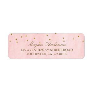 Vintage Pink Gold Confetti Wedding Return Address Label