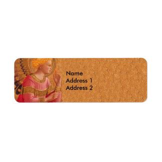 Vintage Pink Golden Christian Angel Return Address Label