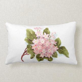 Vintage pink green watercolor hydrangea floral lumbar cushion