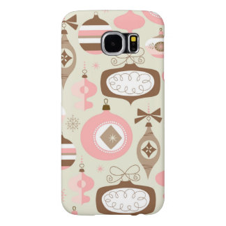 Vintage Pink & Grey Christmas Ornaments Samsung Galaxy S6 Cases
