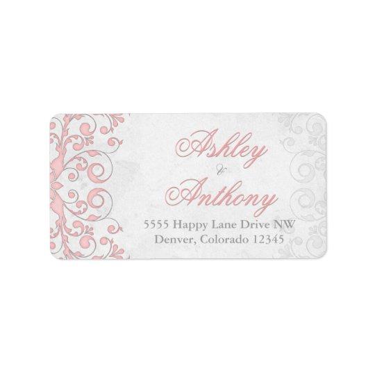 Vintage Pink Grey Floral Wedding Address Labels