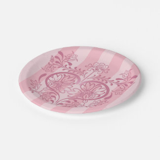 Vintage Pink Heart & Flowers Paper Plates 3 7 Inch Paper Plate