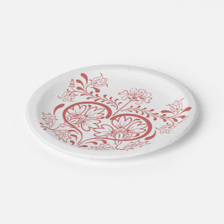 Vintage Pink Heart & Flowers Paper Plates 7 Inch Paper Plate