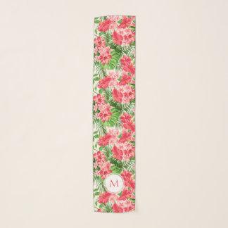 Vintage Pink Hibiscus Flower Monogram Long Scarf 1