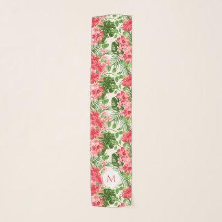 Vintage Pink Hibiscus Flower Monogram Long Scarf 2