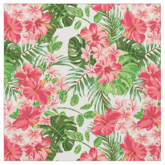Vintage Pink Hibiscus Flower Palm Leaves Fabric