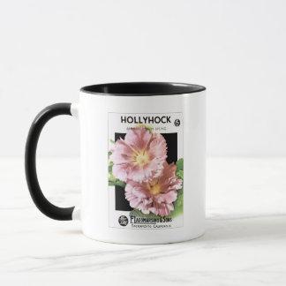 Vintage Pink Hollyhock Seed Packet Mug