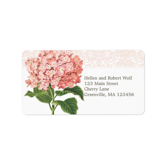Vintage Pink Hydrangea Address Label