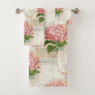 Vintage Pink Hydrangea French Towel Set