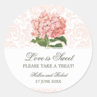 Vintage Pink Hydrangea Wedding Candy Buffet Round Sticker