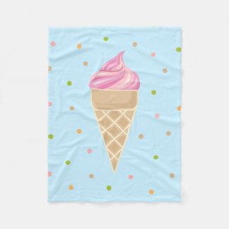 Vintage Pink Icecream Illustration Fleece Blanket