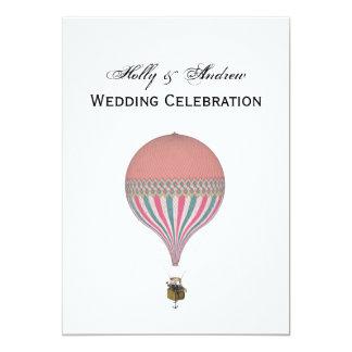 Vintage Pink, Light Blue Hot Air Balloon V Wedding 13 Cm X 18 Cm Invitation Card