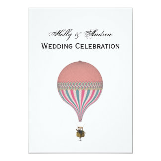 Vintage Pink, Light Blue Hot Air Balloon V Wedding Card