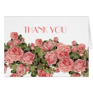 Vintage Pink Magic Roses Thank you Greeting Card